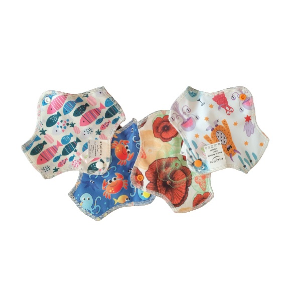 Set 4 absorbante refolosibile intime mici ANALUCA varianta cu tricot bumbac
